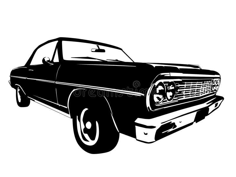 Rocznika Amerykańskiego mięśnia Samochodowa Wektorowa sylwetka royalty ilustracja