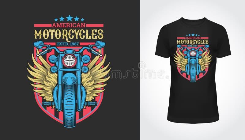 Rocznika Ameryka motocyklu typografia, koszulka ilustracji