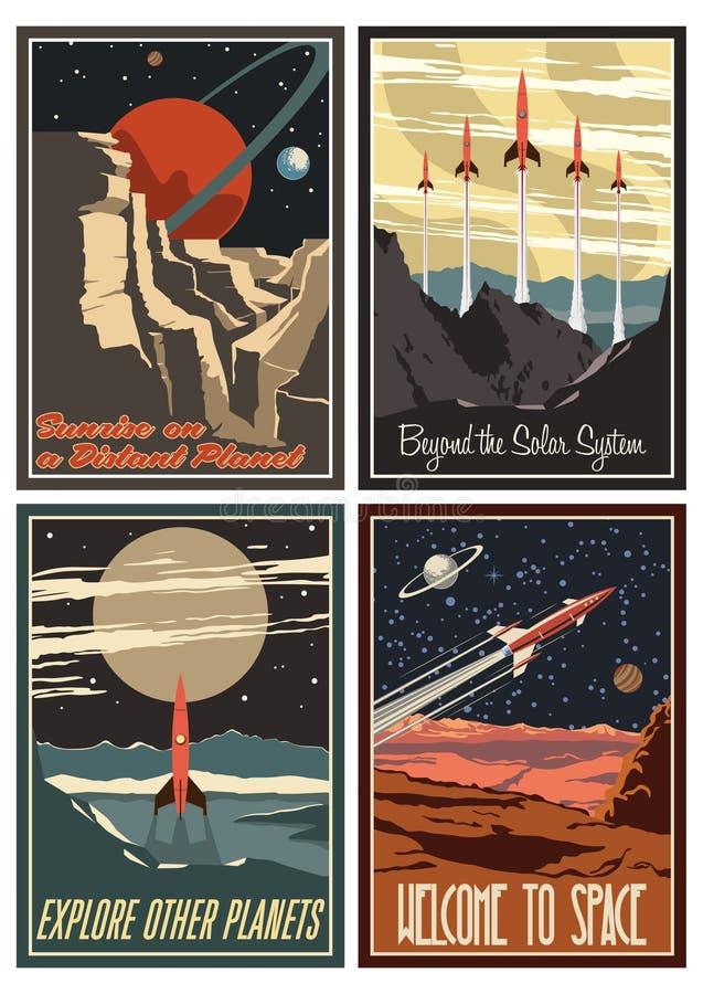 Rocznika amerykanina przestrzeni plakaty od 1950s royalty ilustracja