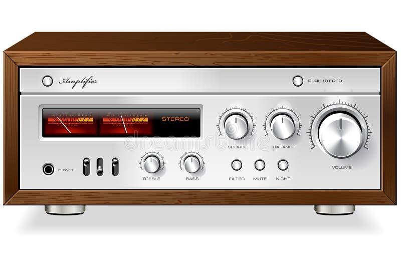 Rocznika amplifikatoru hi fi analogowy Stereo wektor royalty ilustracja