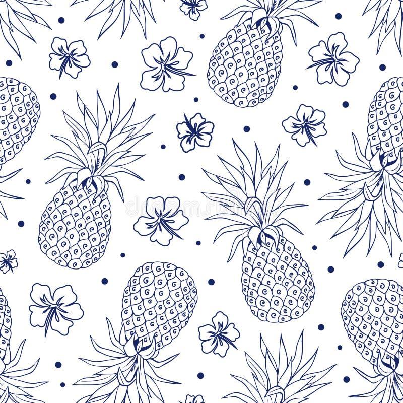 Rocznika ananas bezszwowy royalty ilustracja