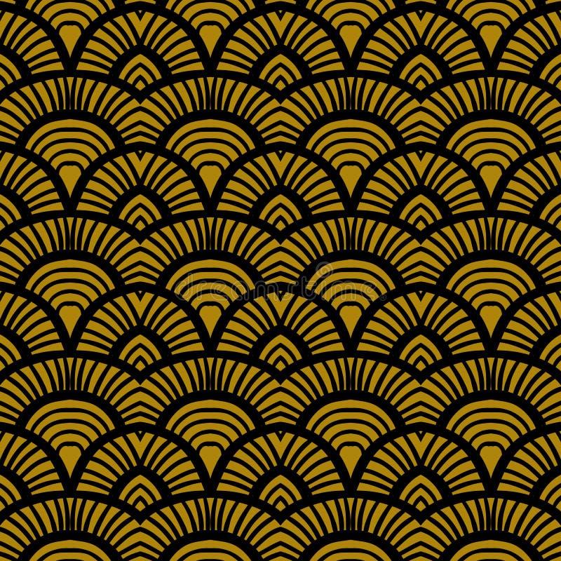 Rocznika art deco ręka rysujący wzór ilustracja wektor