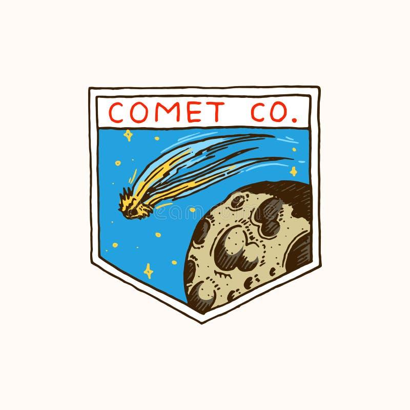 Rocznika Astronautyczny logo Eksploracja astronomiczny galaxy misja kosmita lub astronauta kosmonauta przygoda ilustracja wektor