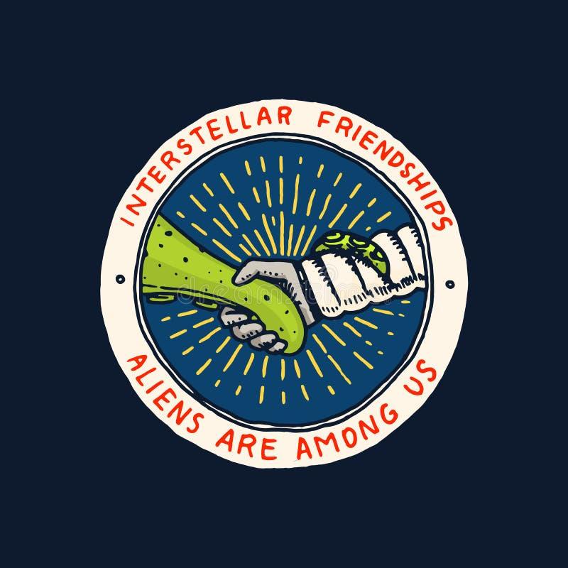 Rocznika Astronautyczny logo Eksploracja astronomiczny galaxy misja kosmita lub astronauta kosmonauta przygoda odznaka royalty ilustracja