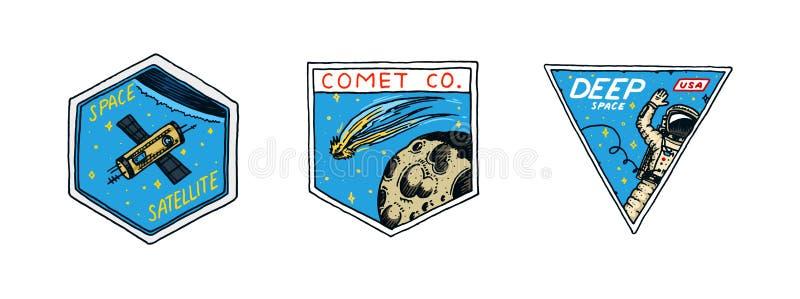 Rocznika Astronautyczny logo Eksploracja astronomiczny galaxy misja kosmita lub astronauta kosmonauta przygoda planety royalty ilustracja