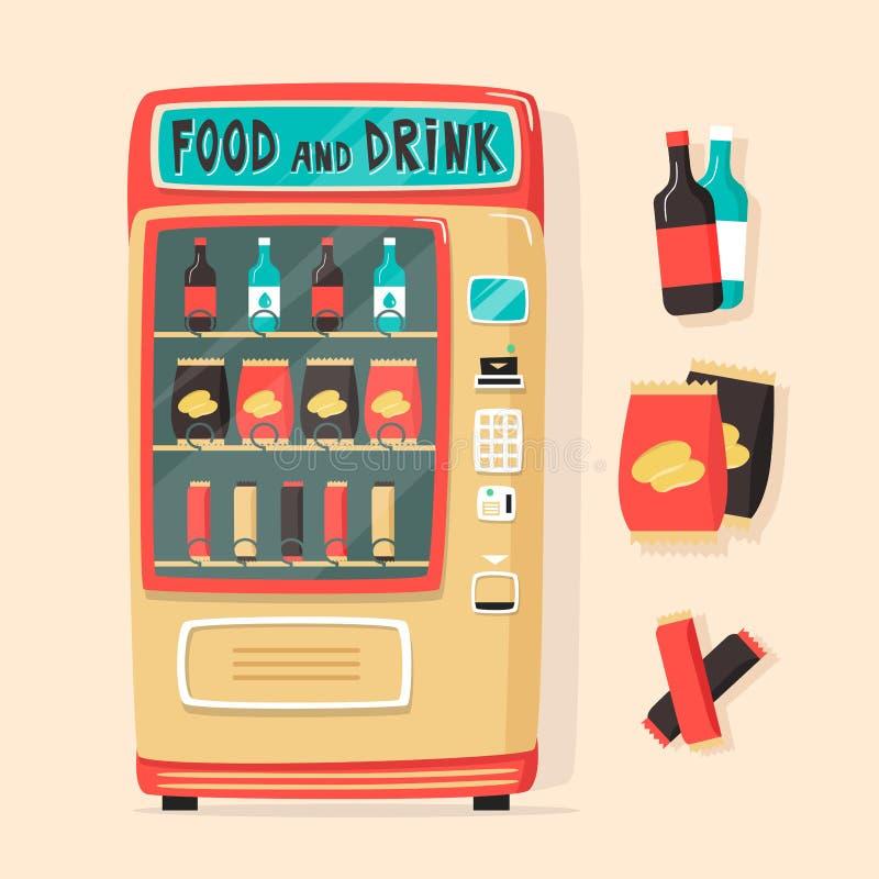Rocznika automat z jedzeniem i napojami styl retro ilustracji