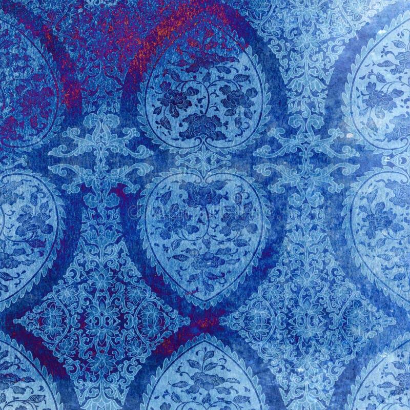 Rocznika błękita adamaszka Inspirowana tekstura royalty ilustracja