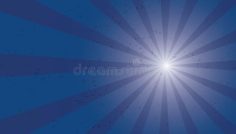 Rocznika błękitny powstający słońce, słońce promień lub, słońce pękamy retro wektor royalty ilustracja