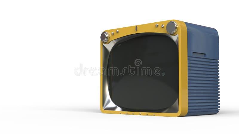 Rocznika błękitny telewizor z musztarda koloru żółtego przodem ilustracja wektor