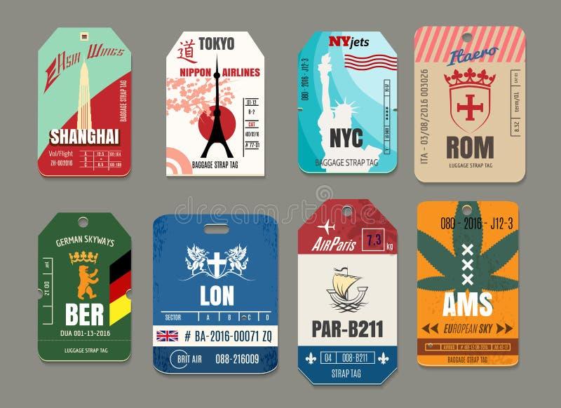Rocznika bagażu lub bagażu wektoru papieru etykietki ustawiać royalty ilustracja