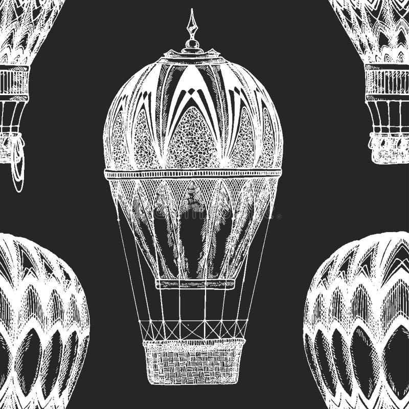 Rocznika balonowy Wektorowy wizerunek na blackboard kredy wektoru Ilustracyjnym Bezszwowym wzorze z gorące powietrze balonu balon royalty ilustracja