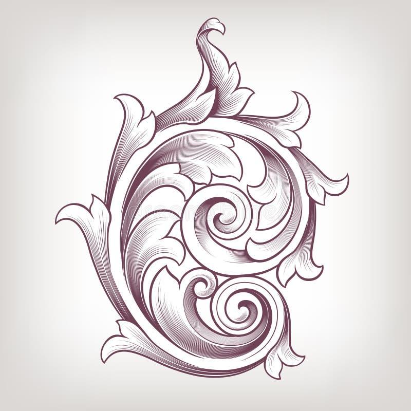Rocznika barokowy kwiecisty ślimacznicy projekta wektor royalty ilustracja