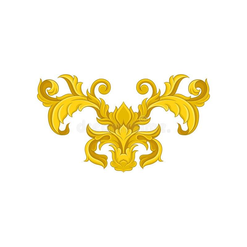 Rocznika barokowy ornament Elegancki kwiecisty wzór w wiktoriański stylu Luksusowy dekoracyjny wektorowy element royalty ilustracja