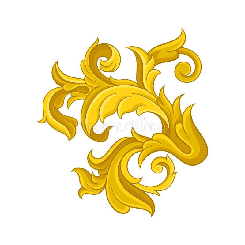 Rocznika barokowy ornament Kwiecisty wzór w wiktoriański stylu Luksusowy dekoracyjny wektorowy element royalty ilustracja