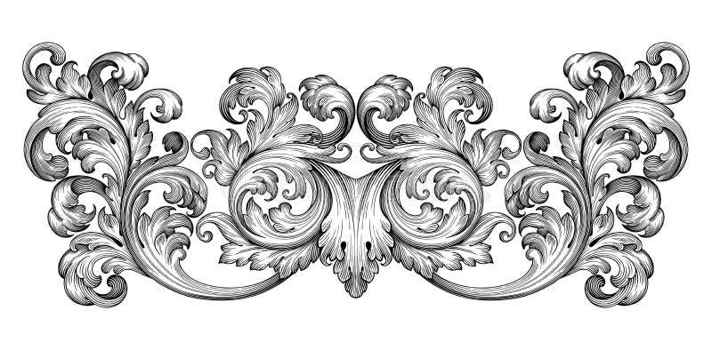 Rocznika baroku ramy ślimacznicy ornamentu wektor