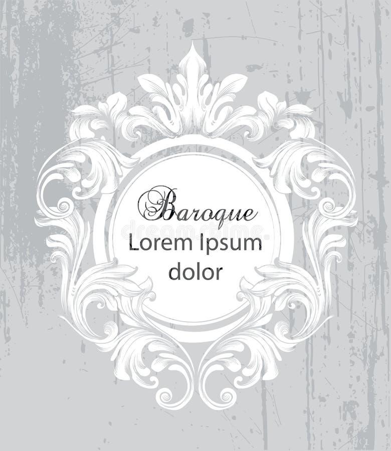 Rocznika baroku ramy karty wektor Szczegółowego bogatego ornamentu ilustracyjne graficzne kreskowe sztuki ilustracja wektor