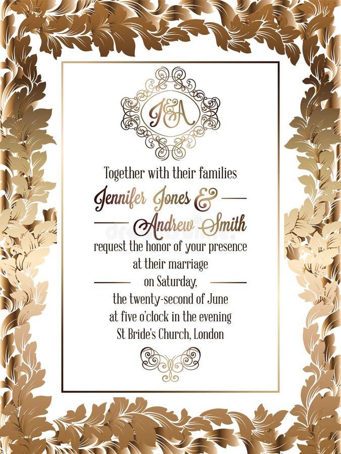 Rocznika baroku stylu zaproszenia karty ślubny szablon royalty ilustracja