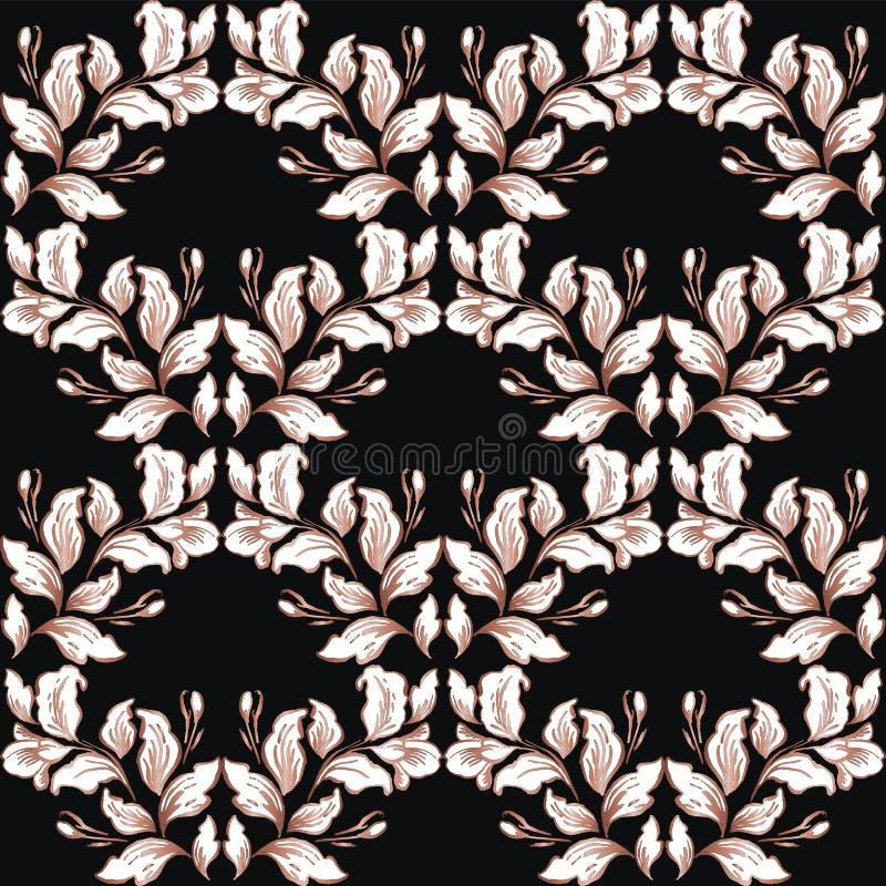 Rocznika baroku wzoru bezszwowy wektor w klasycznym kwiat grafiki stylu tle dla t?a, szablon, ok?adkowej strony projekt, fabr royalty ilustracja