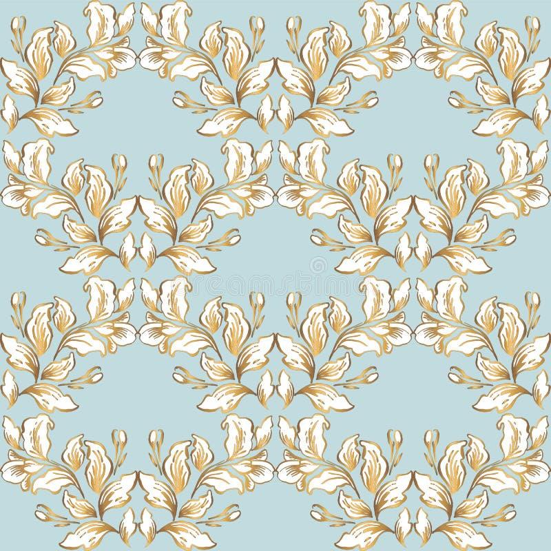 Rocznika baroku wzoru bezszwowy wektor w klasycznym kwiat grafiki stylu tle dla t?a, szablon, ok?adkowej strony projekt, fabr ilustracji