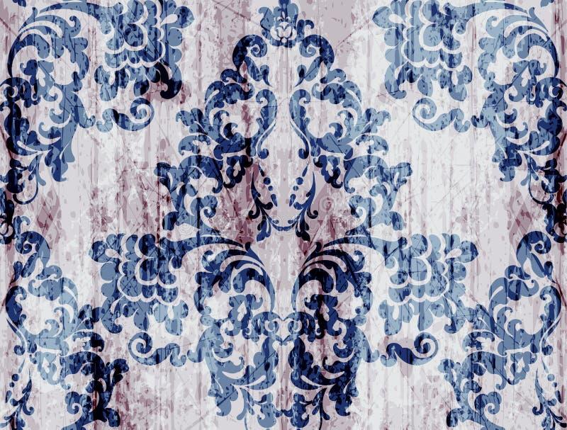 Rocznika baroku wzoru wektor Luksusowa ornamentu tła dekoracja Starzy rujnujący skutki błękitny kolory ilustracja wektor