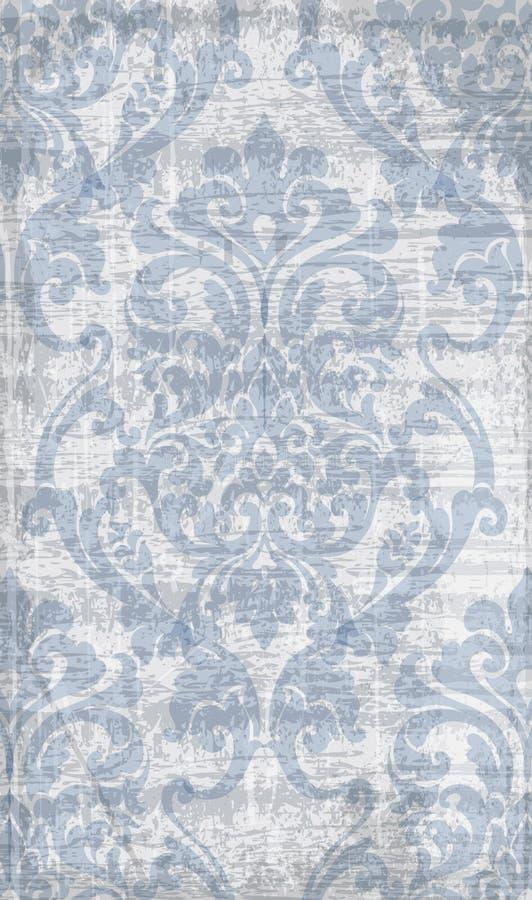 Rocznika baroku wzoru wektor Luksusowa ornamentu tła dekoracja Starzy rujnujący skutki błękitny kolory ilustracji