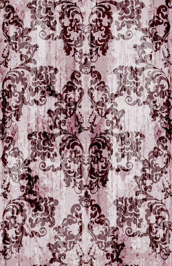 Rocznika baroku wzoru wektor Luksusowa ornamentu tła dekoracja Starzy rujnujący skutki burgundy kolory ilustracja wektor