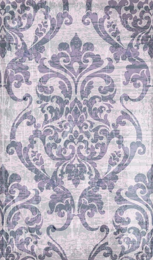Rocznika baroku wzoru wektor Luksusowa ornamentu tła dekoracja Starzy rujnujący skutki Fiołkowi kolory royalty ilustracja