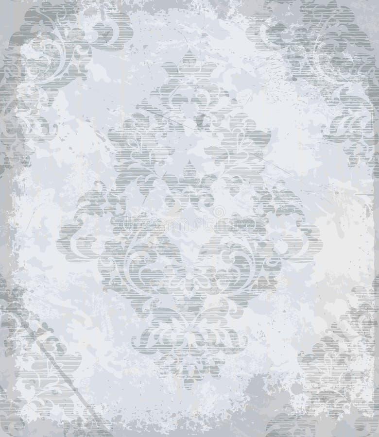 Rocznika baroku wzoru wektor Luksusowa ornamentu tła dekoracja Starzy rujnujący skutki Szarzy lekcy kolory ilustracja wektor