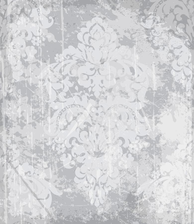 Rocznika baroku wzoru wektor Luksusowa ornamentu tła dekoracja Starzy rujnujący skutki Szarzy lekcy kolory royalty ilustracja