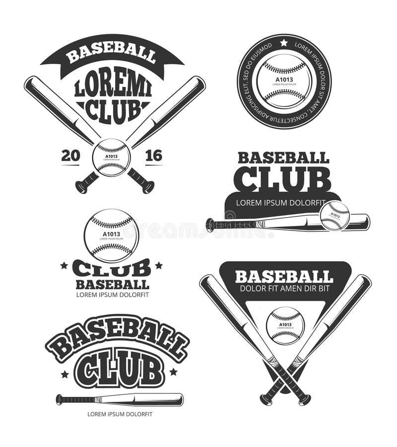 Rocznika baseball bawi się, starzy wektorowi logowie i etykietki ustawiający z nietoperzami i softballem ilustracja wektor