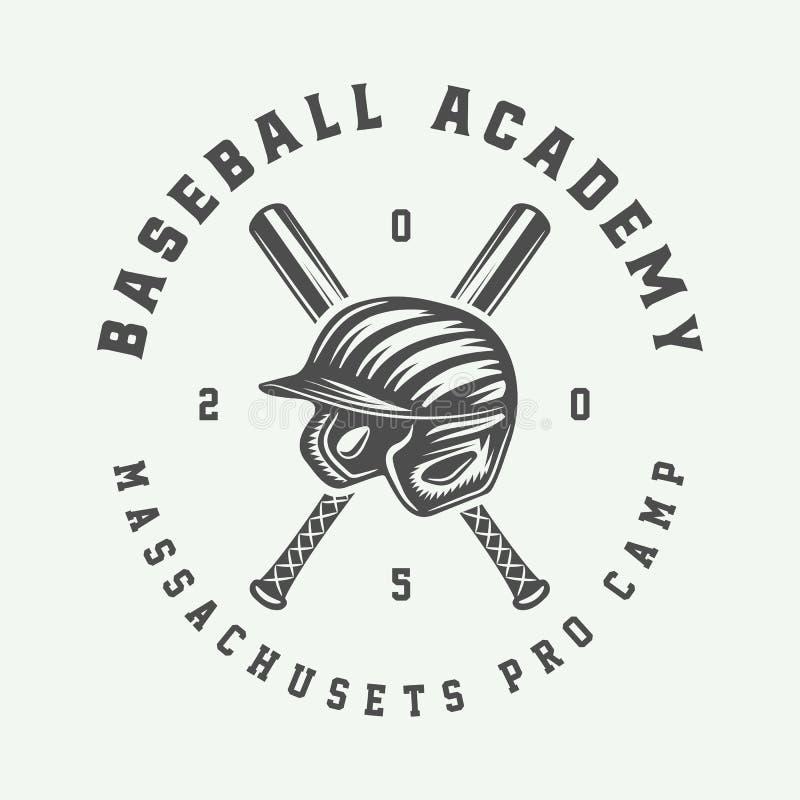 Rocznika baseballa sporta logo, emblemat, odznaka, ocena, etykietka monochr royalty ilustracja