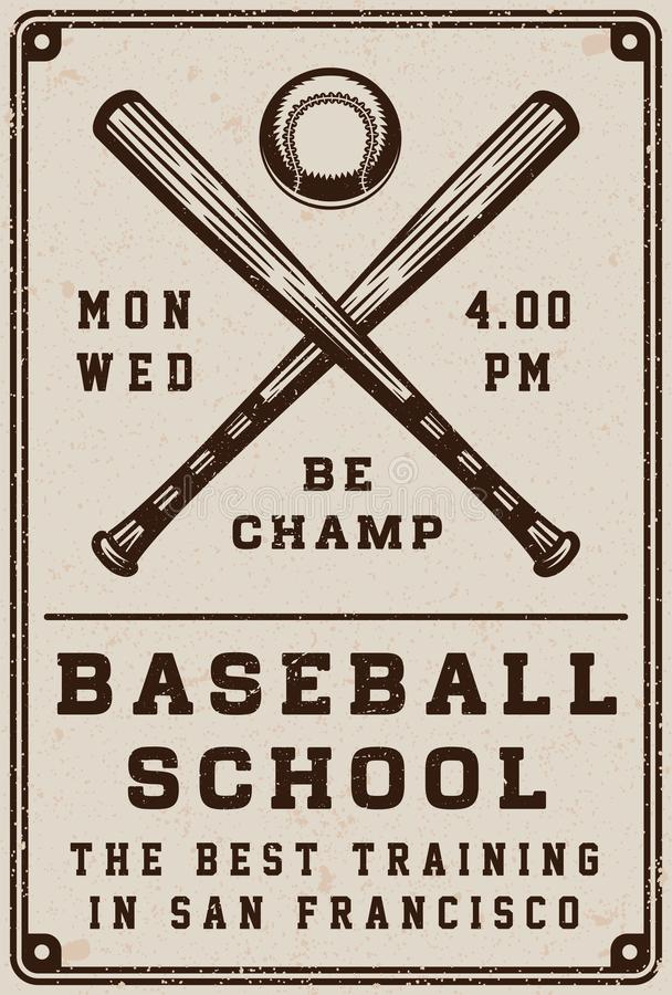 Rocznika baseballa szkoły plakat, szablon, sztandar w retro stylu ilustracji