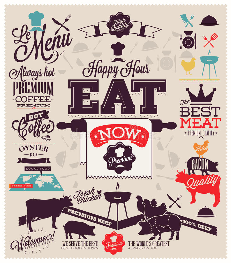 Rocznika BBQ grilla przyjęcie ilustracji