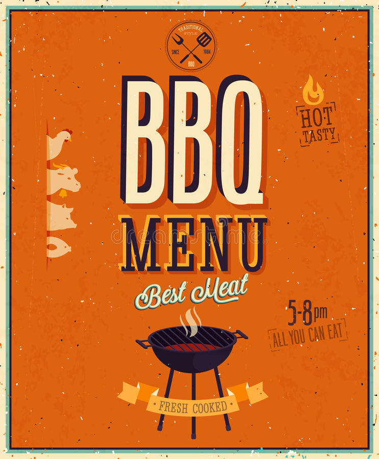 Rocznika BBQ plakat. ilustracja wektor