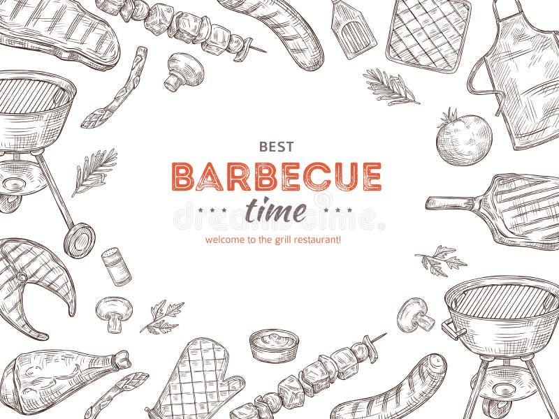 Rocznika BBQ plakat Grilla doodle grilla kurczaka grille piec na grillu warzywa smażący stku mięsny pykniczny lato bawją się ilustracji