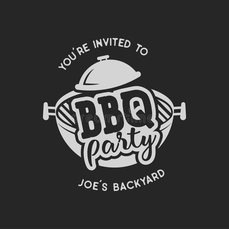 Rocznika bbq ręka rysujący przyjęcie, grilla grilla odznaka, etykietka Retro typografia styl Masarka loga projekt z letterpress ilustracji