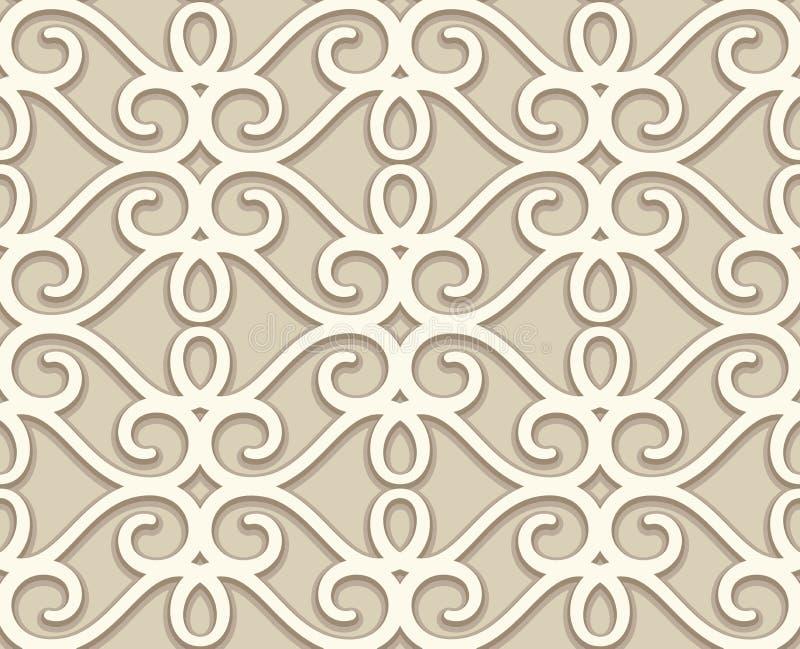 Rocznika beżu koronki tekstura, swirly bezszwowy wzór ilustracji