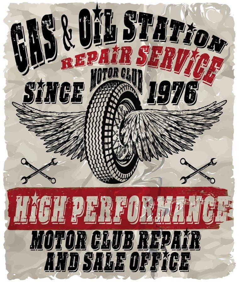 Rocznika benzyny retro znaki i etykietki samochodowej karmy benzynowa stacja twój ilustracja wektor