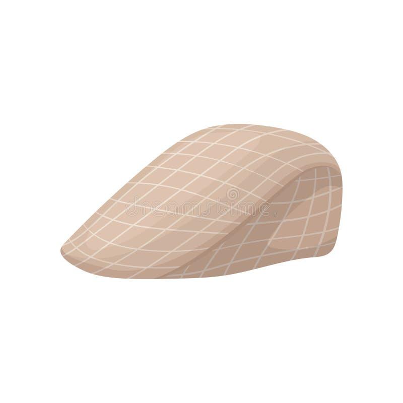 Rocznika bereta w kratkę nakrętka z naliczkiem Elegancki osiągający szczyt kapelusz Modny mężczyzna s headwear Płaska wektorowa i ilustracja wektor