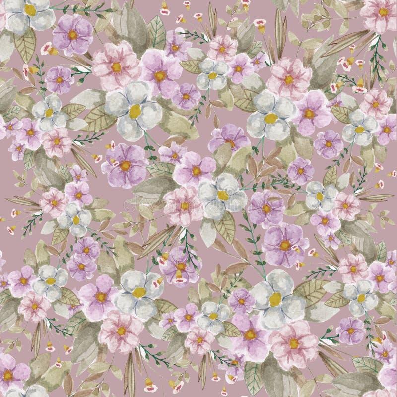 Rocznika Bezszwowy różowy botaniczny wzór zdjęcie stock