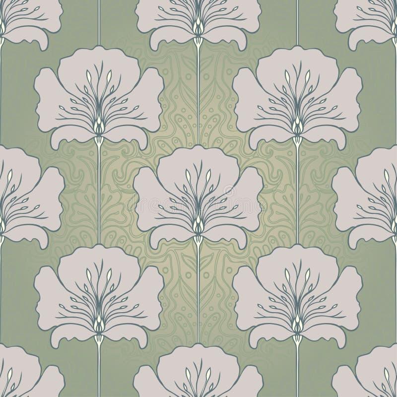 Rocznika bezszwowy wzór z różowymi kwiatami Sztuki Nouveau styl V ilustracja wektor