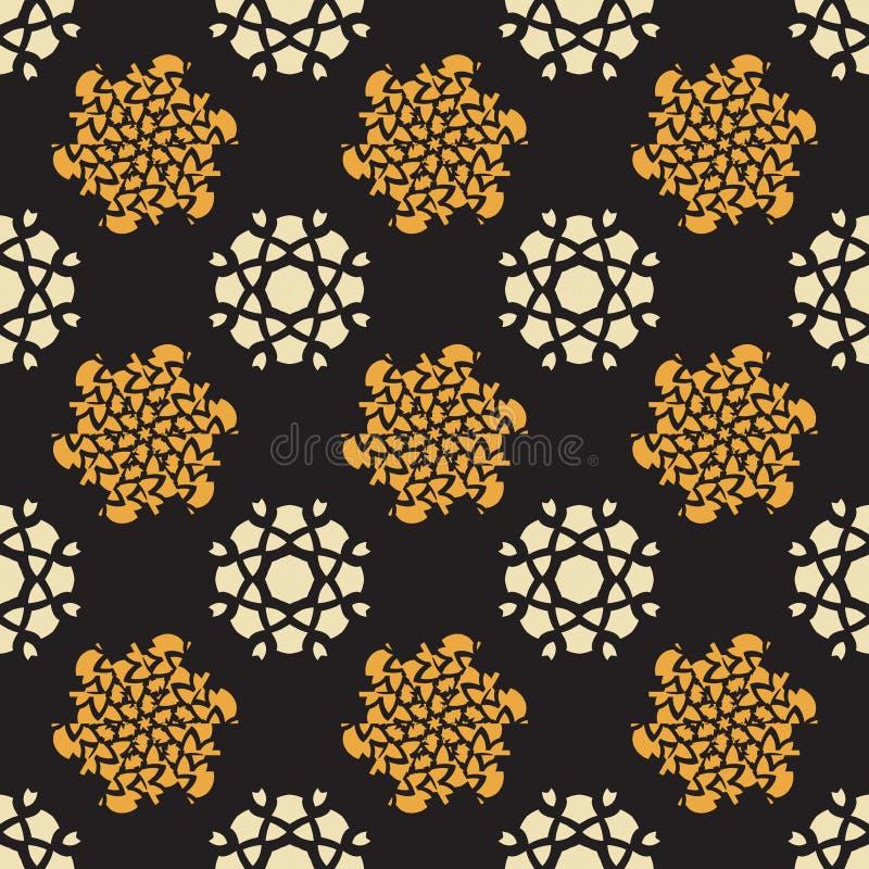 Rocznika białego i żółtego kwiatu wielostrzałowy wektorowy bezszwowy deseniowy czarny tło - tkanin kolekcje ilustracja wektor