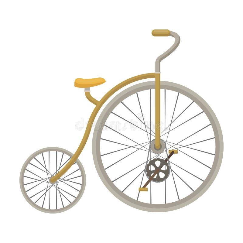Rocznika bicykl Pierwszy bicykl Ogromny i mały koło Różnego bicyklu pojedyncza ikona w kreskówka stylu wektoru symbolu ilustracja wektor