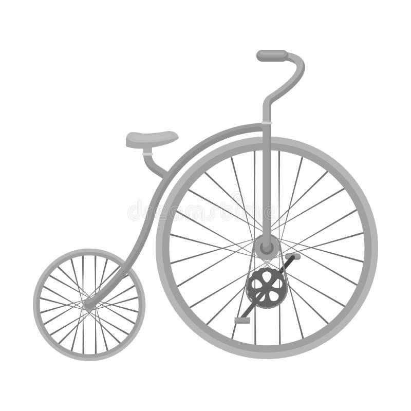 Rocznika bicykl Pierwszy bicykl Ogromny i mały koło Różnego bicyklu pojedyncza ikona w monochromu stylu wektoru symbolu royalty ilustracja