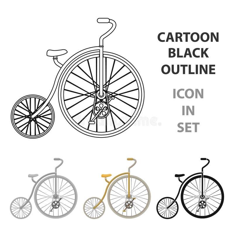 Rocznika bicykl Pierwszy bicykl Ogromny i mały koło Różnego bicyklu pojedyncza ikona w kreskówka stylu wektoru symbolu royalty ilustracja