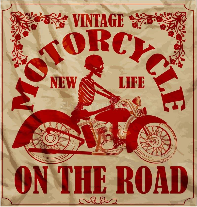 Rocznika Biegowego motocyklu mężczyzna T Retro koszulowy Graficzny projekt ilustracji