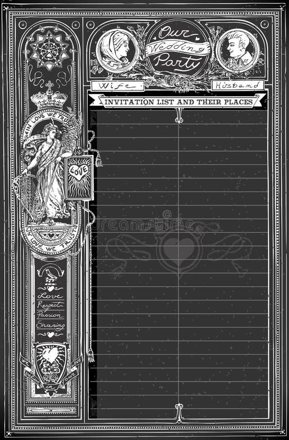 Rocznika Blackboard przyjęcia weselnego Rodzinny Siedzący Placeholder royalty ilustracja