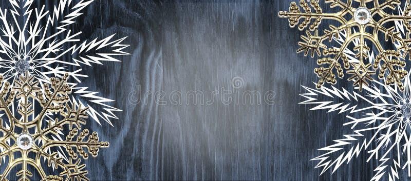 Rocznika Bożenarodzeniowy tło z złotymi i białymi płatek śniegu dalej zdjęcie royalty free