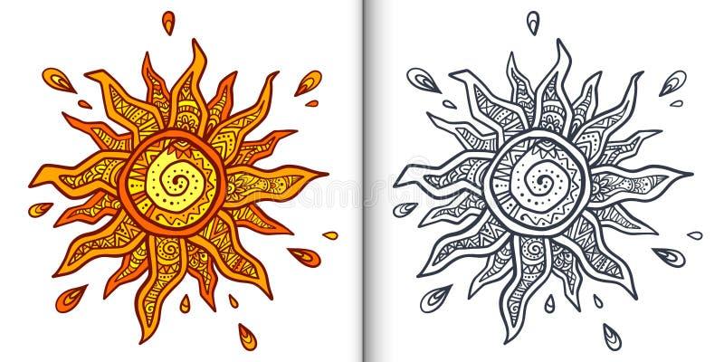 Rocznika boho stylu słońca wektoru pomarańczowa ozdobna ilustracja Kolorystyki książki strony z jasnym lineart i barwiącą próbką royalty ilustracja