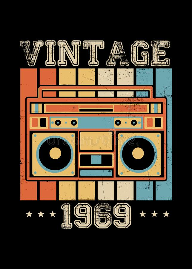 Rocznika boombox 1969 retro plakatowa odzież martwiąca ilustracji